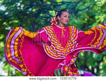 GUADALAJARA MEXICO - AUG 28 : Dancer Participates at the 23rd International Mariachi & Charros festival in Guadalajara Mexico on August 28 2016.