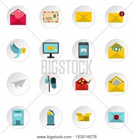 Email icons icons set. Flat illustration of email icons 16 vector icons for web