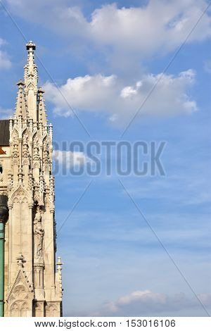 Detail of beautiful gothic pinnacle from Matthias Church in the historic center of Budapest with cloudy sky and copy space