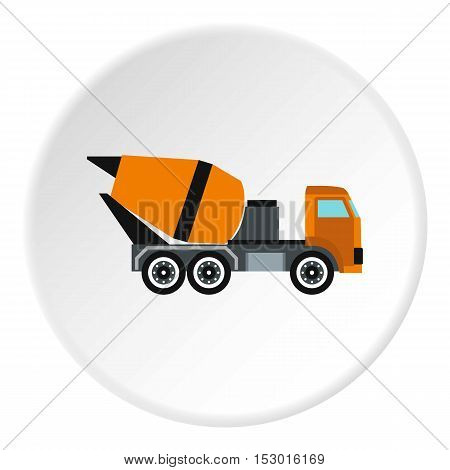 Truck mixer icon. Flat illustration of truck mixer vector icon for web