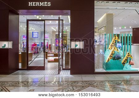 LAS VEGAS - OCT 05 : Exterior of a Hermes store in Las Vegas strip on Octomber 05 2016. Hermes is famous luxury brand existing since 1837.