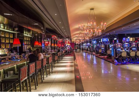 LAS VEGAS - OCT 05 : The Cromwell Hotel casino interior in Las Vegas on October 05 2016 The hotel reopened in 2014 and it has 188 rooms and a casino with 40000 square feet of gaming space.