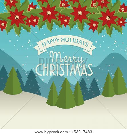 merry christmas card and happy new year landscape garland chirstmas flower vector illustration eps 10