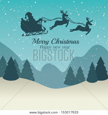 merry christmas and happy new year silhouette santa sleigh landscape design graphic vector illustration eps 10