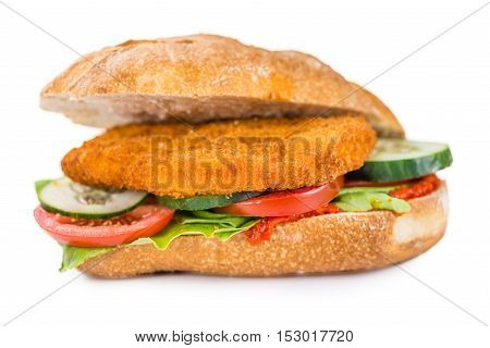 Chicken Schnitzel On A Bun (isolated On White)