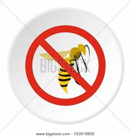 Prohibition sign wasps icon. Flat illustration of prohibition sign wasps vector icon for web