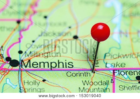 Corinth pinned on a map of Mississippi, USA