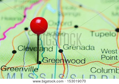 Greenwood pinned on a map of Mississippi, USA