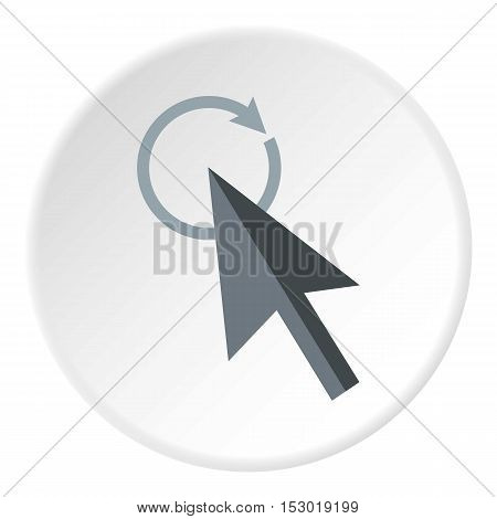 Grey cursor clicks on update icon. Flat illustration of grey cursor clicks on update vector icon for web