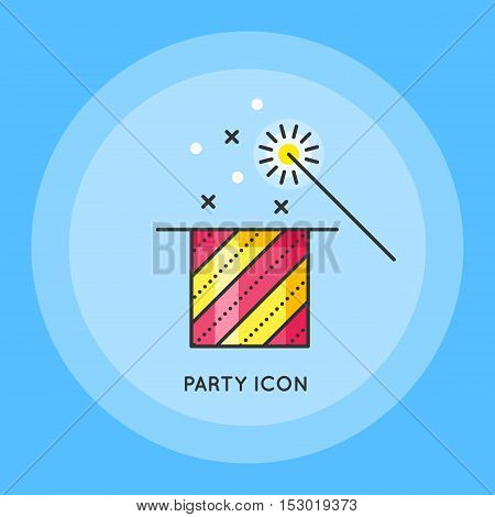 Magic show. Trick with a hat. Stars in cylinder with magic wand. Flat design. Thin line style. Vector illustration isolated on white background