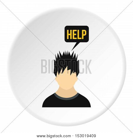 Male avatar and word help icon. Flat illustration of male avatar and word help vector icon for web
