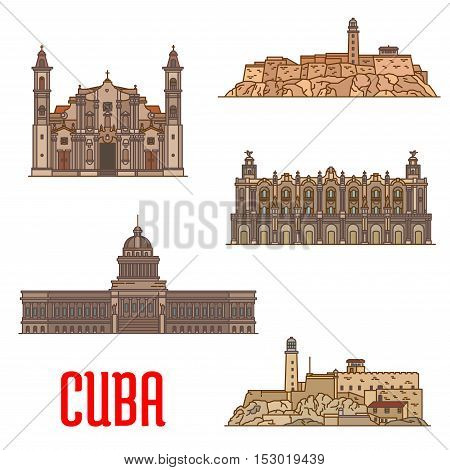 Great Theatre of Havana, Real Fuerza Fortress, San Carlos de la Cabana, National Capitol, St Christopher Havana Cathedral. Vector detailed icons of landmarks and sightseeings of Cuba for souvenirs, travel guide design elements