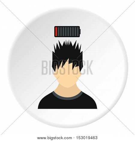 Male avatar and discharge batteries icon. Flat illustration of male avatar and discharge batteries vector icon for web