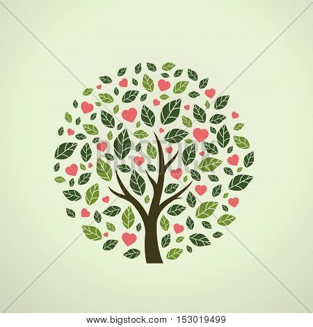Tree covered with love, abstract floral pattern.