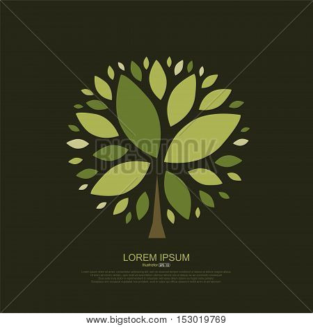 Abstract composition of tree leaves, Vector illustration.