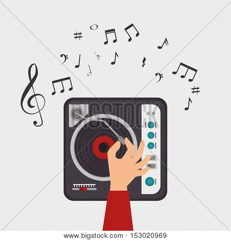dj console note clef music vector illustration eps 10