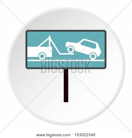 Sign evacuation of cars to impound yard icon. Flat illustration of sign evacuation of cars to impound yard vector icon for web