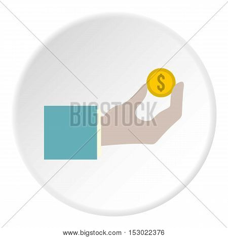 Hand pays for parking icon. Flat illustration of hand pays for parking vector icon for web