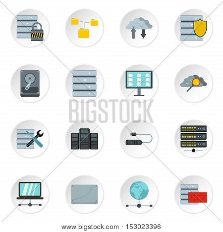 Database icons set. Flat illustration of 16 database vector icons for web