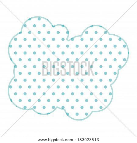 Dotted silhouette cloud callout with cumulus vector illustration