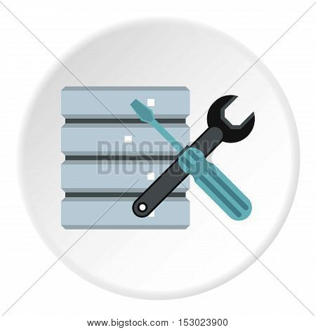 Database setup icon. Flat illustration of database setup vector icon for web