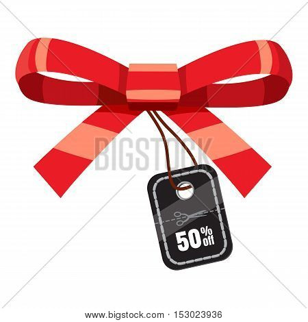 Tag with bow with discount icon. Cartoon illustration of tag with bow with discount vector icon for web