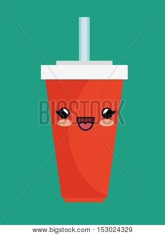 kawaii cup soda straw cold vector illustration esp 10