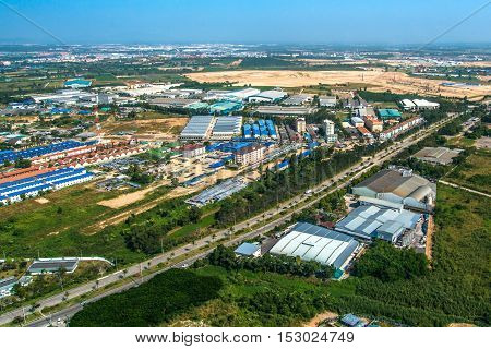 Industrial estate land development construction and residential aerial photography
