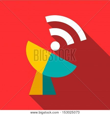 Telecommunication satellite antenna icon. Flat illustration of telecommunication satellite antenna vector icon for web