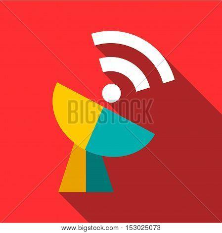 Telecommunication satellite antenna icon. Flat illustration of telecommunication satellite antenna vector icon for web