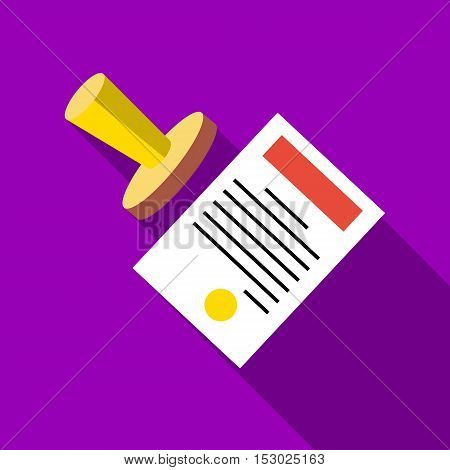 Seal to document icon. Flat illustration of seal to document vector icon for web