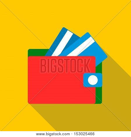 Red wallet with credit cards icon. Flat illustration of red wallet with credit cards vector icon for