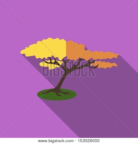 Tree with fluffy crown icon. Flat illustration of tree with fluffy crown vector icon for web