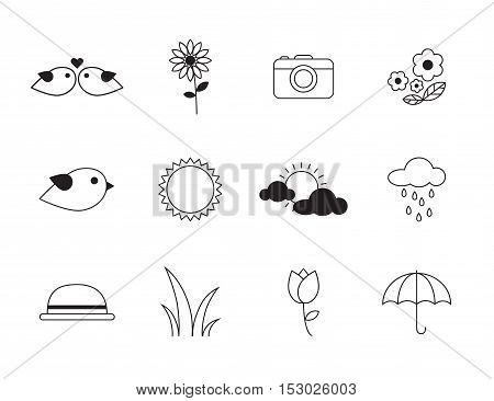Thin lines icon set - nature and travel concept