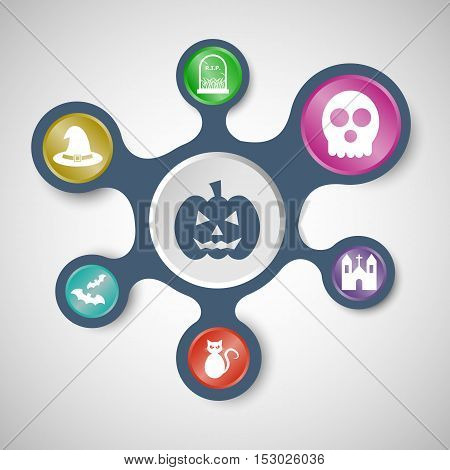 Halloween infographic templates with connected metaballs, stock vector
