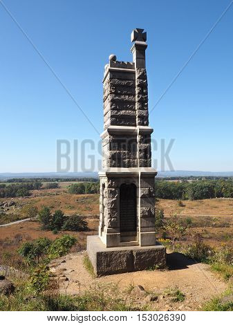 Gettysburg PA USA - October 15 2016: Statue on the Little Round Top Battlefield
