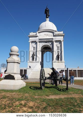 Gettysburg PA USA - October 15 2016: Pennsylvania State Memorial on the battlefield