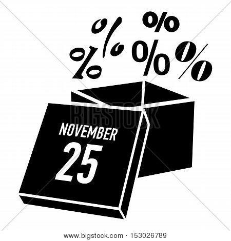 Box discounts on twenty fifth of november icon. Simple illustration of box discounts on twenty fifth of november vector icon for web