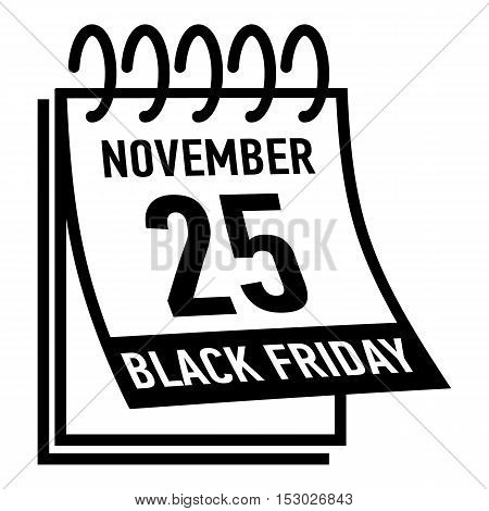 Calendar twenty fifth november black friday icon. Simple illustration of calendar twenty fifth november black friday vector icon for web