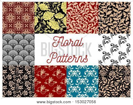 Floral seamless decor patterns. Vector flourish ornamental tile tapestry backgrounds with stylized flowers, leaves and tendrils
