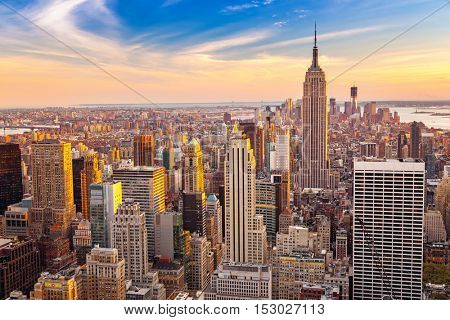 Aerial view of New York City Manhattan at sunset