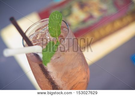A glass of lemonade iced. Tasty cool beverage with lemonade.(selective focus)