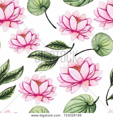 Watercolor Gentle Water Lily and Green Leaves Seamless Pattern
