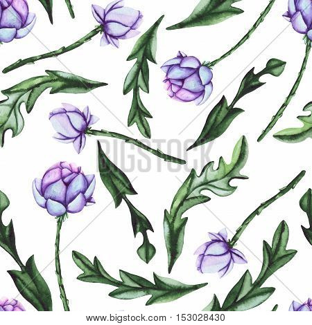 Watercolor Seamless Pattern with Deep Green Leaves and Lilac Buds