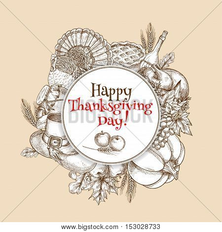 Thanksgiving vector greeting card element. Round circle space with text decorated with traditional design of sketched pumpkin, turkey, cornucopia, vegetables harvest, autumn oak and maple leaves