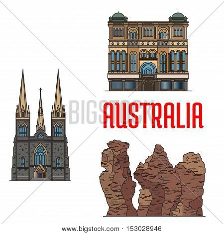 Queen Victoria Building, St Patrick Cathedral, Three Sisters Rock. Detailed icons of historic architecture and sightseeings of Australia for souvenirs, travel guide design elements