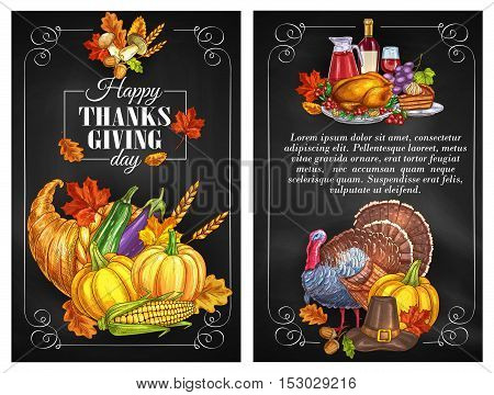 Thanksgiving Day greeting holiday banners and posters with copyspace. Traditional design of food abundance. Thanksgiving color sketch turkey symbol, cornucopia with plenty of food. Family celebration dinner meal with autumn harvest, vine