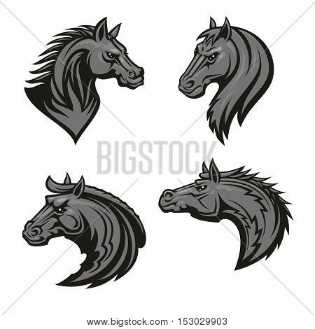 Horse head heraldic emblems set. Stylized stallion icons for sport club, team badge, label, tattoo. Mustang head with thorny prickly mane and bold look