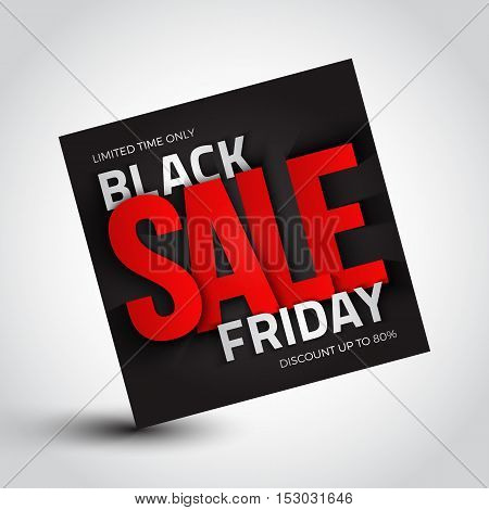 Black friday sale vector background. 3d square banner. Design template with inscription. Business, marketing and holiday illustration