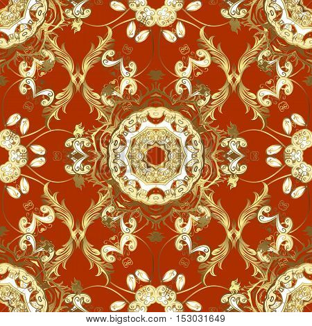 Seamless damask pattern classic ginger and rufous background. Vector. Red carroty foxy Judas-colored.